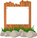 木篱芭和草与空白的标志 免版税库存图片