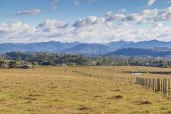 木篱芭在农场 图库摄影