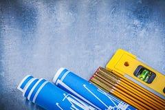 木米蓝色在金属滚动了结构图平实 库存照片