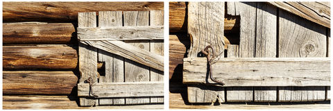 木老门日志墙壁生锈的硬件拼贴画 免版税库存图片
