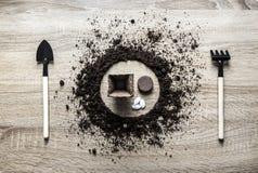 木背景概念地球着陆了圈子盘匙子叉子叉子种植泥煤片剂种子南瓜罐弹簧的犁耙纹理 免版税库存照片