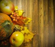 木背景离开苹果南瓜构成秋天11月 免版税库存图片