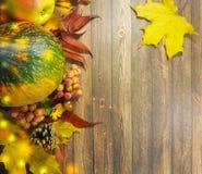 木背景离开苹果11月 免版税库存照片