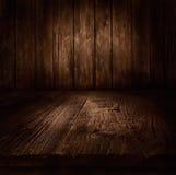 木背景-与木墙壁的桌 库存照片