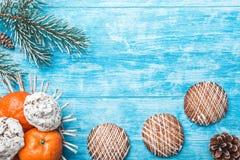 木背景 冷杉绿色结构树 甜点 果子用普通话 空间圣诞节消息或新年 庆祝口味  免版税库存照片