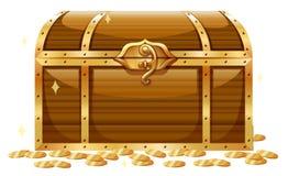 木胸口和金黄硬币 皇族释放例证