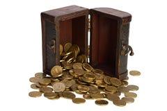 木胸口有硬币里面被隔绝的背景 库存照片