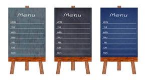 木菜单显示标志,框架餐馆留言簿的汇集,隔绝在白色背景 免版税库存图片