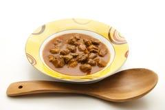 木菜炖牛肉汤的匙子 库存图片