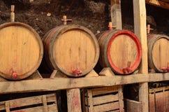 木葡萄酒桶在一个地下地窖里 免版税库存图片