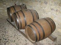 木葡萄酒桶在地窖里 免版税库存图片