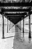 木蓝色码头海运的星期日 免版税图库摄影