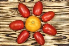木表面上是黄色和红色蕃茄 免版税库存照片