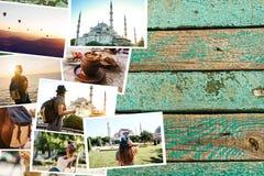 木表面上的很多图片 土耳其的旅行记忆包括伊斯坦布尔和卡帕多细亚 在照片旁边 免版税库存照片
