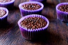 木表面上的微型巧克力蛋糕蛋白牛奶酥 免版税库存照片
