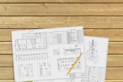 木表面上的文件 免版税库存图片