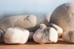 木表面上的海石头 图库摄影