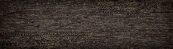 木表面宽纹理 黑褐色木全景背景 库存照片