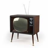 木表面饰板葡萄酒电视 库存例证