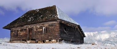 木被放弃的村庄 免版税库存图片