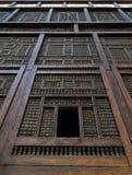 木被装饰的门面,开罗,埃及 库存照片