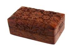 木被雕刻的手工制造小箱 图库摄影