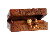 木被雕刻的手工制造小箱 库存照片