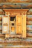 木被雕刻的窗口门 库存图片