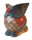 木装饰品猫头鹰被绘的雕塑 免版税库存照片