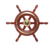 木褐色被涂清漆的和黄铜优美的六轮幅乘快艇方向盘 免版税库存照片
