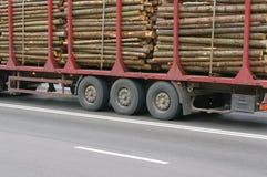 木记录的日志的拖车 免版税库存图片