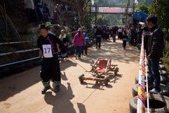 木购物车赛跑。 库存照片