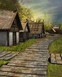 木路面在村庄 免版税库存照片