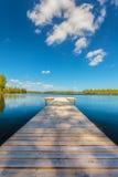 木跳船在一个晴天在瑞典 库存图片