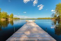 木跳船在一个晴天在瑞典 免版税图库摄影