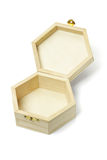 木配件箱六角开放形状的存贮 库存照片