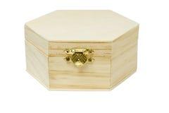 木配件箱六角形状的存贮 库存照片