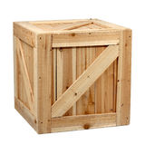 木配件箱白色背景 免版税图库摄影
