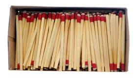 木配件箱的火柴梗 免版税库存照片