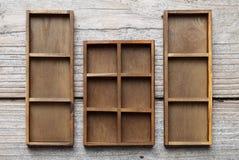 木配件箱的盘 库存图片