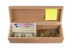 木配件箱的货币 免版税库存照片