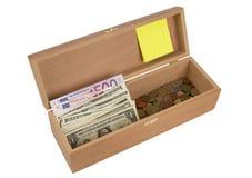 木配件箱的货币 库存照片