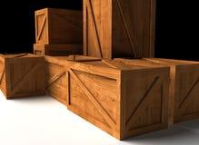 木配件箱的货物 库存图片