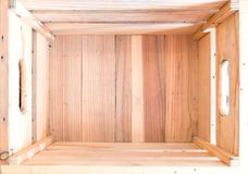 木配件箱的顶视图 公告和广告的自由空间 免版税库存图片