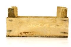 木配件箱空的长的侧视图 库存照片