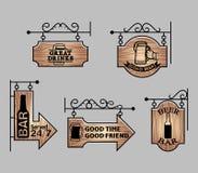 木酒吧标志 皇族释放例证