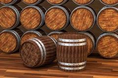木酿酒厂桶有温暖的颜色背景,3d翻译 向量例证