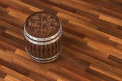 木酿酒厂桶有温暖的颜色背景,3d翻译 库存例证