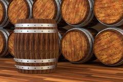 木酿酒厂桶有温暖的颜色背景,3d翻译 皇族释放例证