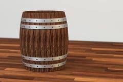 木酿酒厂桶有白色背景,3d翻译 向量例证